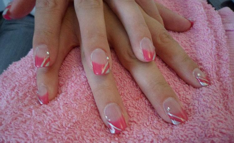 Pink Acrylic Tips & Silver Nail Art