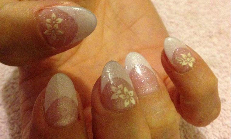 French tips with fancy flowers