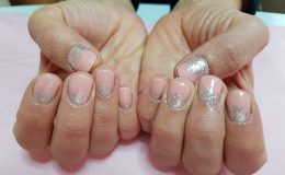 pink acrylic tips and silver nail art