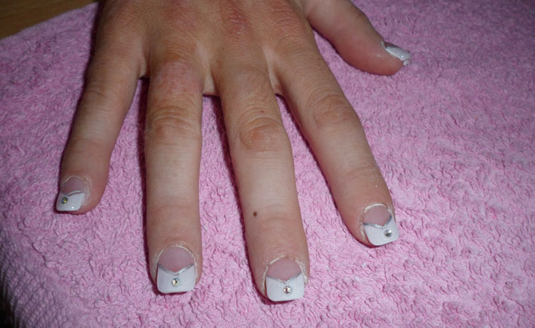 White & Diamante Nail Art