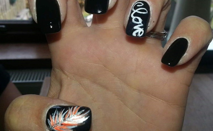 Freehand feather & love nail art – Amanda\'s Amazing Nails