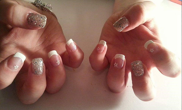 French Polish,  flowers & glitter